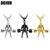AOJUN Hercules Weightlifting Necklace Men Jewelry Stainless Steel Sport Fitness Barbell Pendants Necklaces Jewellery Gift