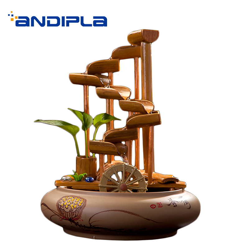 110/220 V Jingdezhen céramique fontaine d'eau Feng Shui roue bambou roue à eau Vintage réservoir de poisson décoration de la maison artisanat paysage aquatique