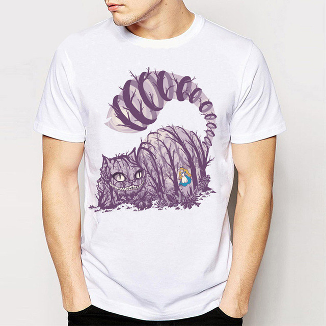 Track Ship + Tees T Shirts Big Purple Tooth Ghost Cheshire Cat Alice Alice'S Adventure In Wonderland Forest Men/Boy Tee Shirts