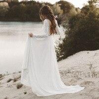 LORIE Beach Wedding Dress Long Sleeve Boho V Neck Open Back bridal dresses 2018 Chiffon Princess Lace Chiffon Wedding Gown novia