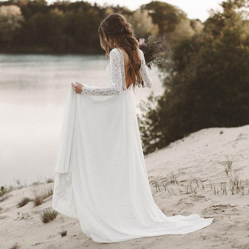 LORIE Spiaggia Abito Da Sposa Manica Lunga Boho Scollo A V Aperto Indietro abiti da sposa 2018 Chiffon Della Principessa Del Merletto Chiffon Abito Da Sposa da sposa