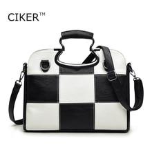 CIKER Brand new women leather handbags fashion black white plaid tote top-handle bag casual shoulder bag bolsa bolsos sac a main