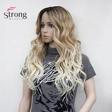 Heat Resistant Long Blonde Ombre Wavy Little Lace Front Long Wig