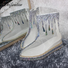 Deification Fashion Net Yarn Ankle Boots Magic Show Pointy Falts Bling Crystal Studded Rhinestone boots Girl Party Shoes