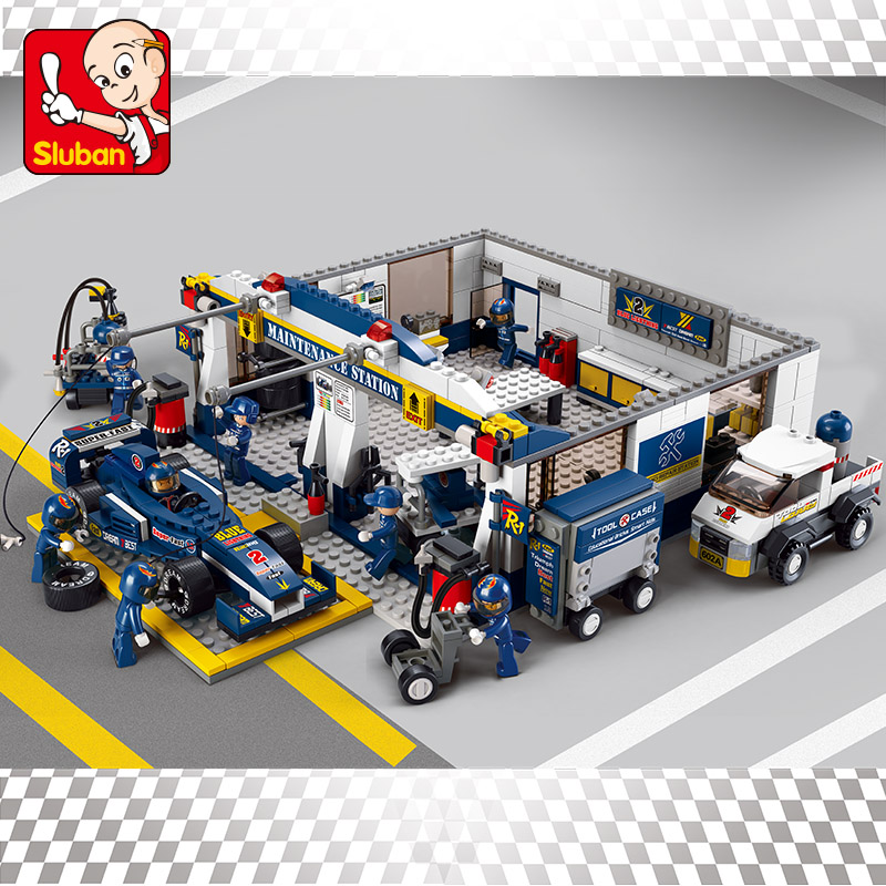 741pcs B0356 Sluban KR F1 Racing Car model Building Blocks Sets Educational Bricks Speedway Kids Baby Toys boy kids set gift 726pcs f1 formula racing car 1 10 470mm 18 5in building blocks sets decool 3334 educational toys brick