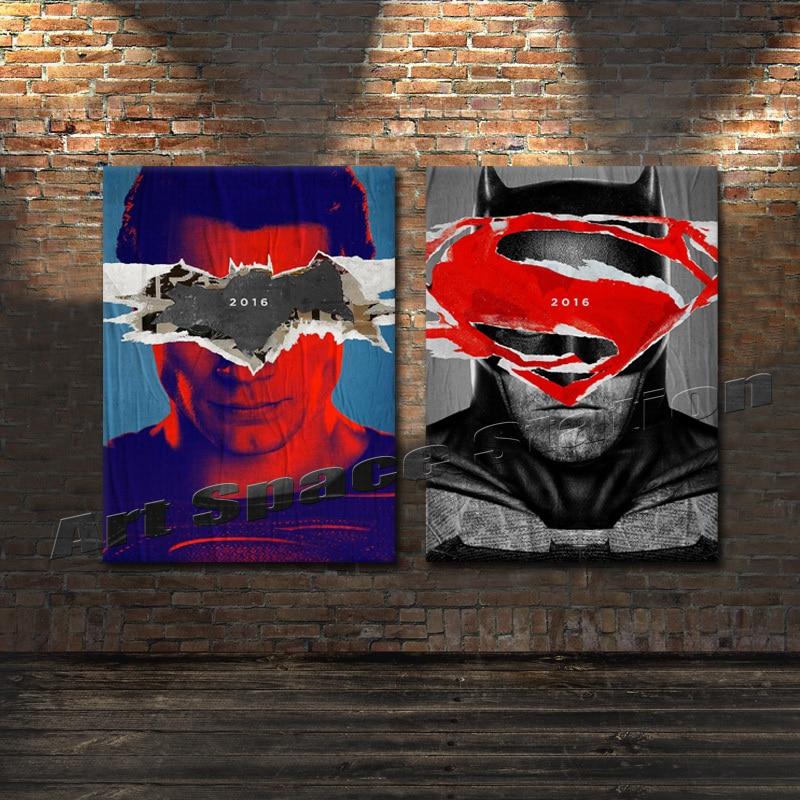 Sin marco 2016 Batman VS Superman caliente película cartel de la lona cuadro de la pared del arte moderno para sala de estar decoración 2 paneles en ...