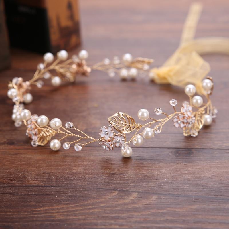 Trendy Flower Gold Color Bride Pearl Headband tiara Hair Jewelry Handmade Rhinestones Wedding Headpiece Hair Accessories