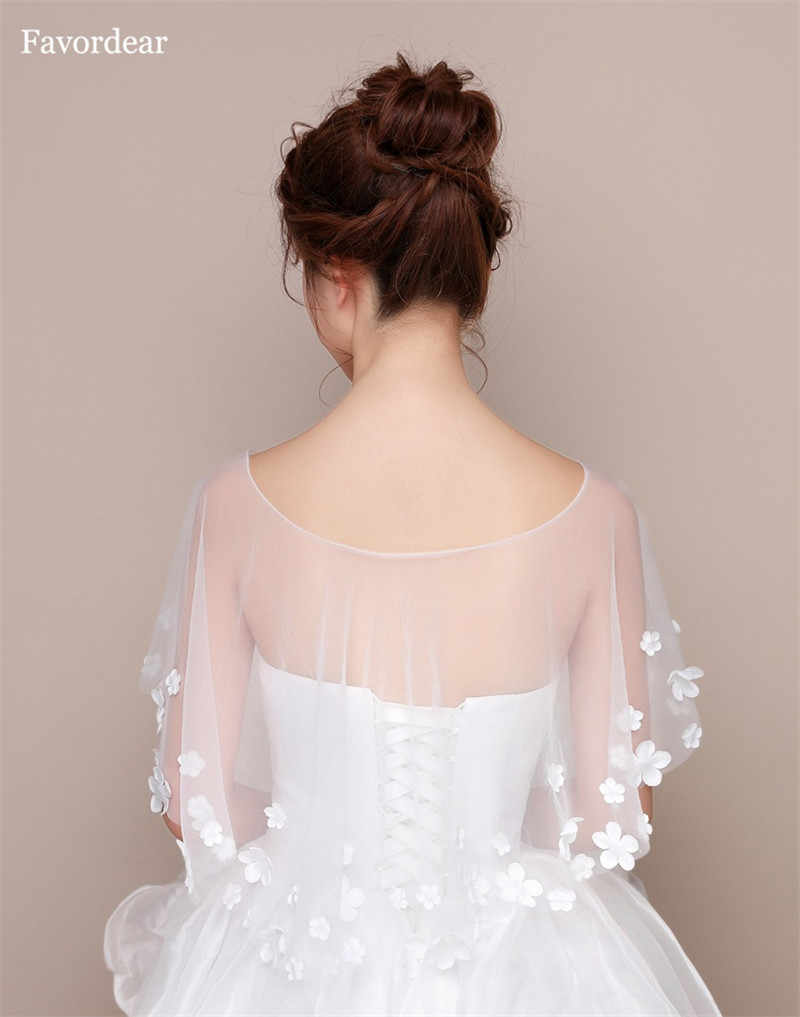 Favordear Fashion Sheer Tulle High Low Wedding Wrap Summer Flower Wedding Bolero Women Cape Wedding Shawl Bridal Accessories