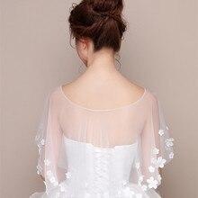 Favordear Fashion Sheer Tulle High Low Wedding Wrap Summer Flower Wedding  Bolero Women Cape Wedding Shawl 35df547a8