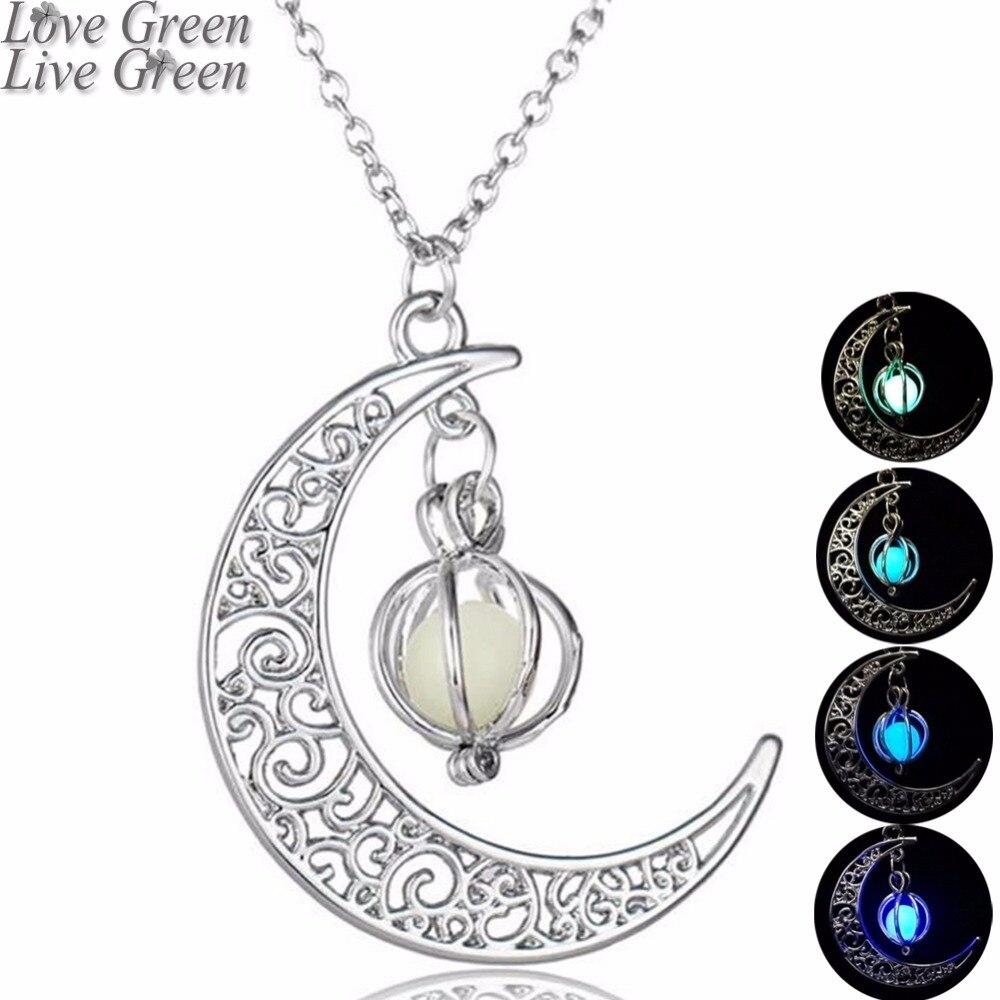 Fashion Women's stone shine moon Charm Luminous Stone necklaces Pendants fashion jewelry Statement Necklace