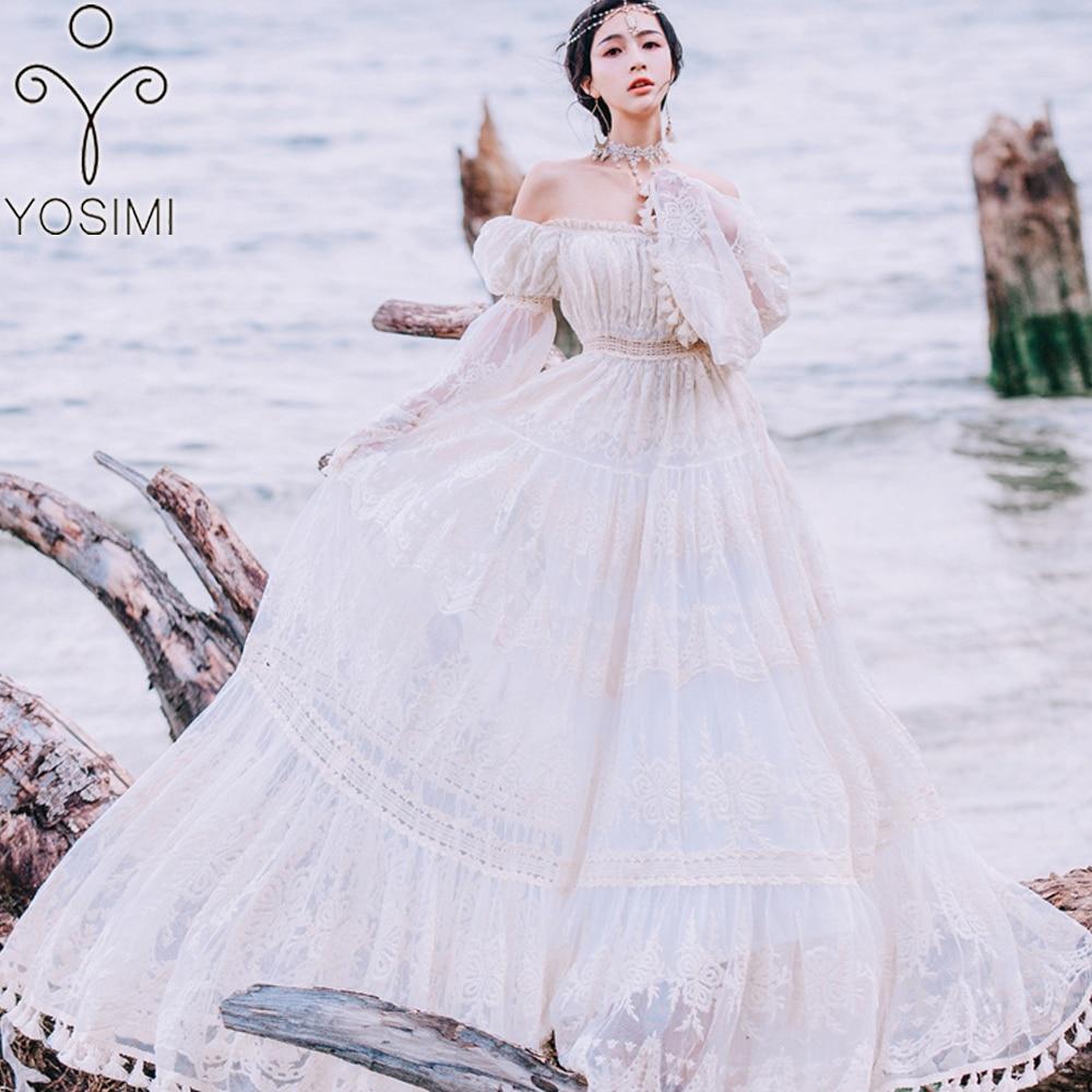 YOSIMI 2019 été dentelle longue femmes robe soirée Maxi Vintage dame blanc hors de l'épaule étage longueur gland robe tunique