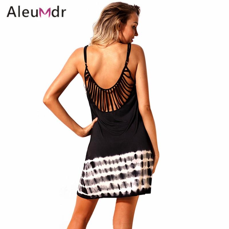 Aleumdr Summer Seaside Swimwear Cover-up Women 2018 Fanshaped Strappy Back Tie Dye Beach Cover Up Dress LC420043 Saidas De Praia strappy cross back crochet cover up swim dress