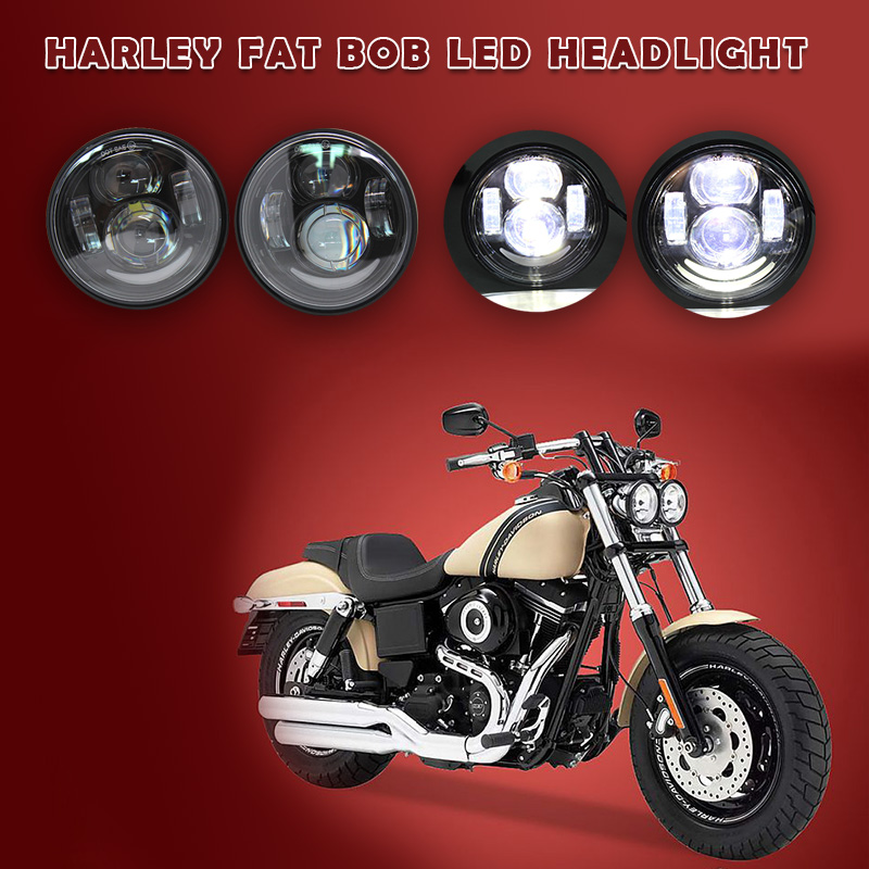 New 4.65 inch Harley Motorcycle Double LED Headlights With DRL halo For Harley Dyna Fat Bob FXDF Model Daymaker LED Headlight faduies 1 pair 4 5 inch harley motorcycle led headlight high low beam with drl angle eyes for harley fat bob fxdf led headlamp