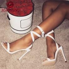 Купить с кэшбэком JOJONUNU Women Sandals Sexy High Heels Ankle Corss Band Fashion Buckle Open Toe Shoes Women Catwalk Show Shoes Size 35-40