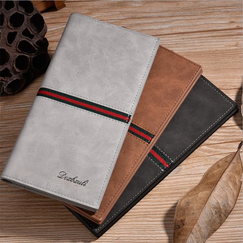 ??????? ??????? Vintage Men Leather Brand Luxury Wallet Long Slim Male Purses Money Clip Credit Card Dollar Portomonee
