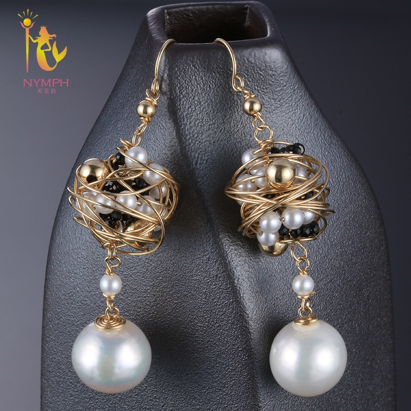 [NYMPH] Pearl Earrings For Women Fine Jewelry Natural Pearl Drop Earrings Near round Trendy Gift For Party E310 nobuer 14kgf handmade pearl drop earrings trendy women long earrings jewelry white round pearl drop earrings hanging to a party