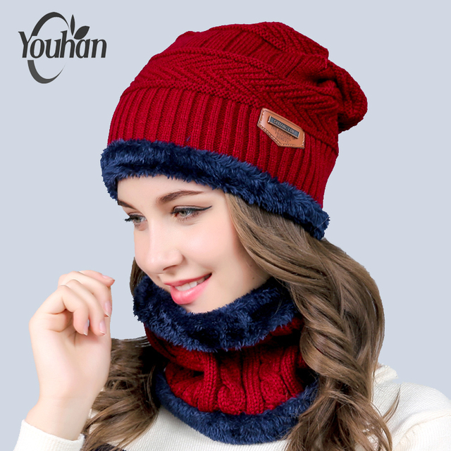 YOUHAN Skullies Beanies Collar Winter Hat Women Man Fashion Warm Hat Unisex  Warm Wool Cap Bonnet Scarf Hats Set Drop Shipping 5746d3f1617