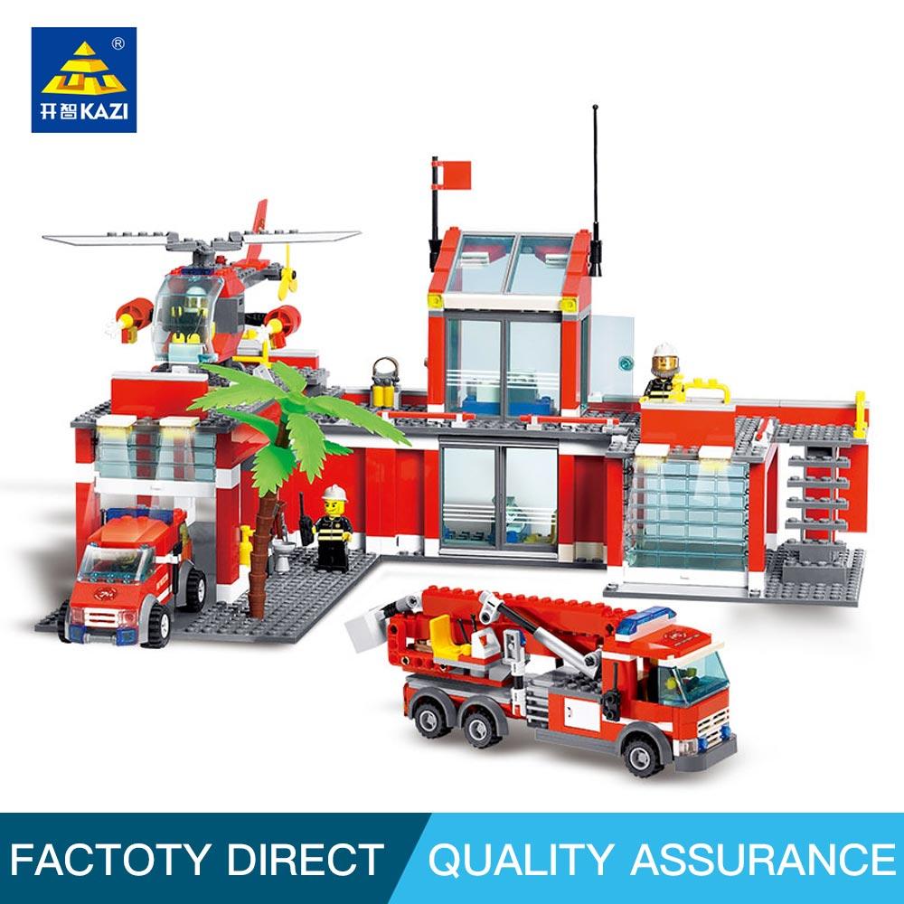 Kazi Építőelemek Játékok Gyermekeknek Vészhelyzeti mentő Tűzállomás Blokkok Tégla Építőelemek Oktatási játékok beállítása