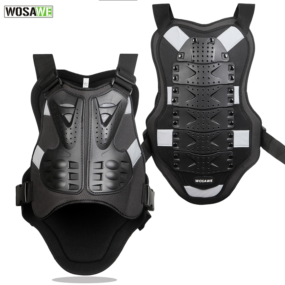 WOSAWE Body Protector armor Motorcycle jackets Motocross back shield sleeveless vest Spine Chest Protective gears Jacket
