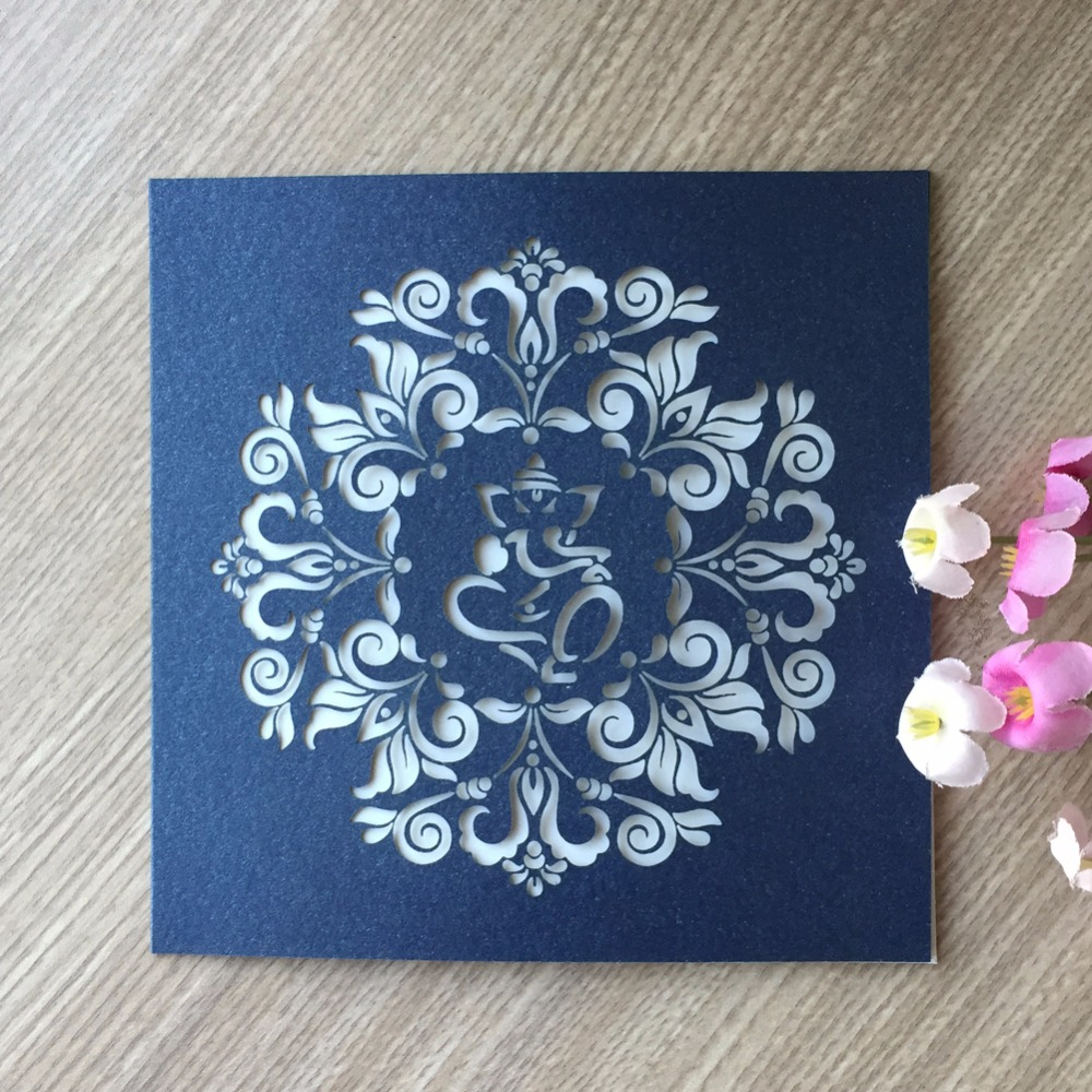 Us 26 39 42 Off 2018 New Free Shipping Royal Blue Gold Elephant Designed Elegant Laser Cut Wedding Invitations Cards 30pcs Lot 24colors In