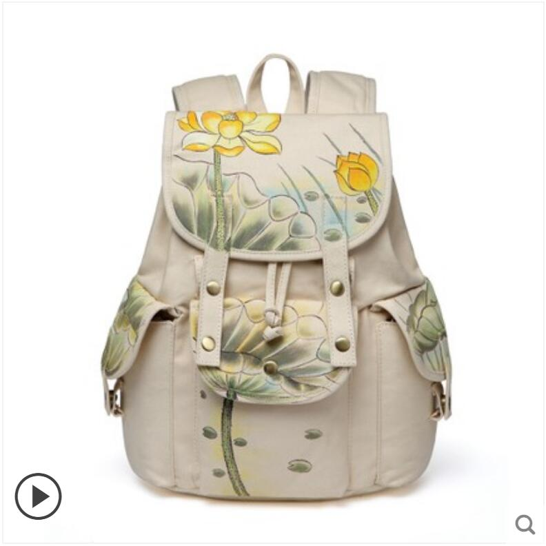 цена на Hand-painted lotus ethnic style canvas casual backpack student bag fashion large-capacity backpack
