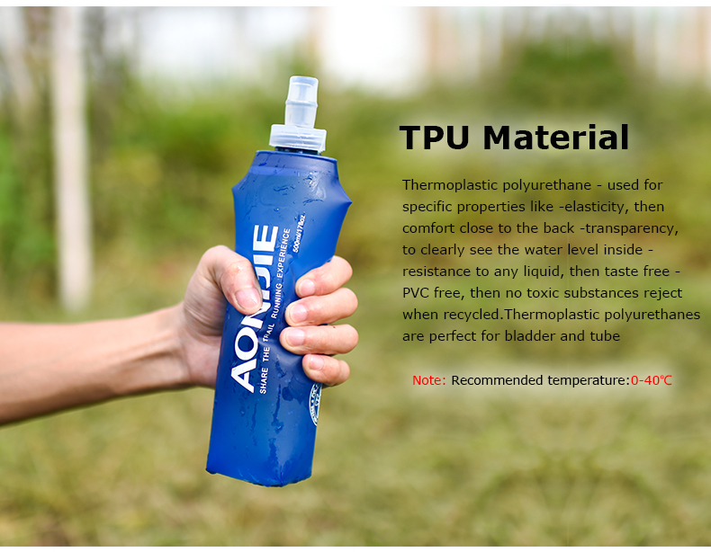 Foto of material water's flask folding TPU for sport. Collapsible flask of water 500ml for hiking
