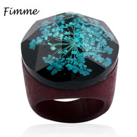 Amazing Design Antique Fashion Crystal Clear Flower Resin Ring Fresh Handmade Personality Statement Classic Vintage Rings