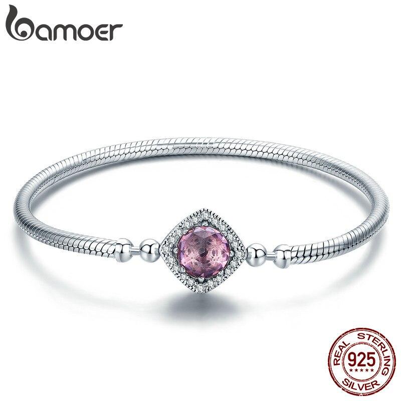 BAMOER Authentique 100% 925 Sterling Argent Rose AAA Zircon Cubique Charme Strand Bracelets pour les Femmes Bijoux En Argent Sterling SCB052