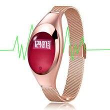 2017 Mujeres de La Manera Reloj Relojes Inteligentes Con Joyas Pantalla Z18 Inteligente Monitor de Presión Arterial y la Frecuencia Cardíaca Podómetro