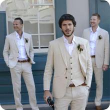 Бежевые льняные свадебные костюмы Мужская одежда для жениха