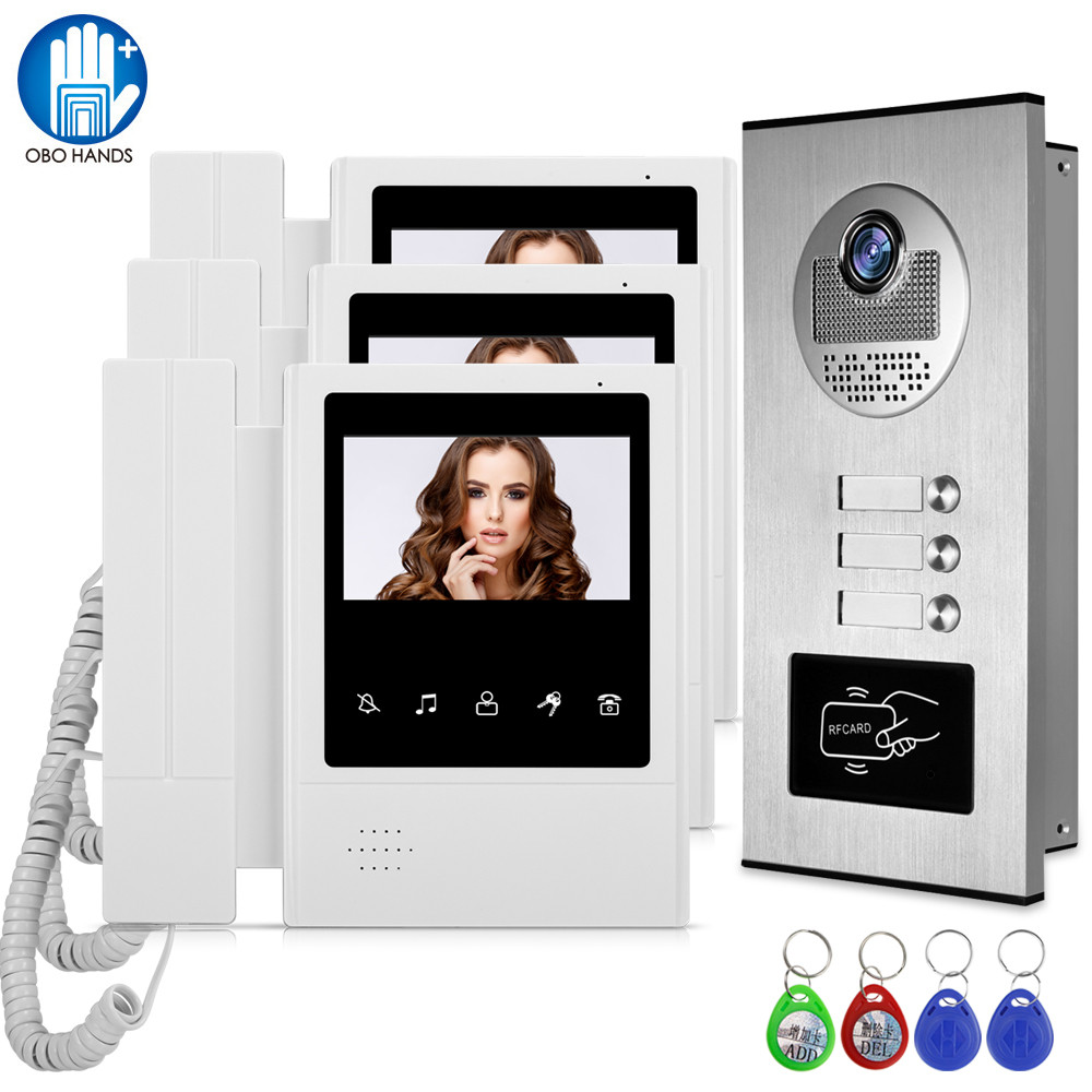 Wired Home 4.3'' TFT Video Intercom Doorbell System RFID Camera With 2/3/4 Monitor Doorphone For Multi Apartment EM Key Unlock