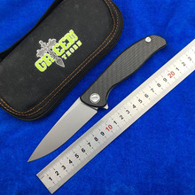 лучшая цена Green thorn hati 95 Flipper folding knife D2 steel bearing titanium CF 3D handle camping hunting outdoor fruit Knives EDC tools