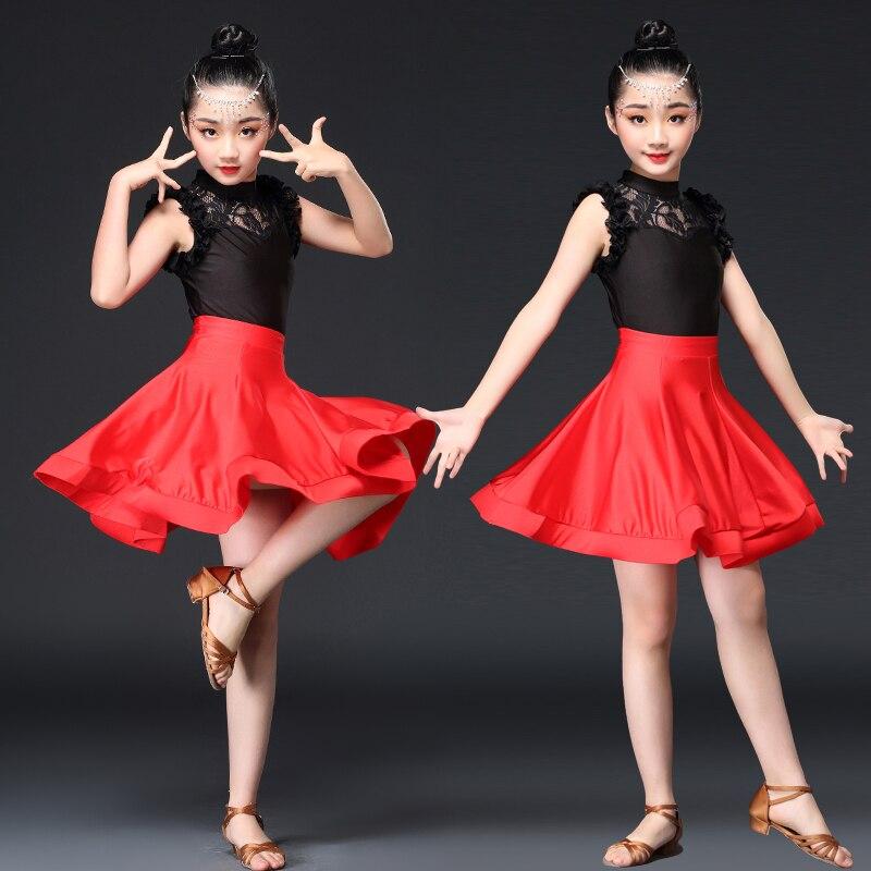 Kid Latin Dance Dress Costume Child short Sleeve tango rumba salsa skirt Ballroom Dance Costume Lace Latin Dance Dress For Girls