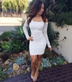 White Short Long Sleeve Lace Cocktail Dresses 2016 Off Shoulder Coctail robe de Cocktail Party Dresses vestido de festa curto