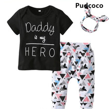 Pudcoco Newborn Baby Boy Girl Letter Print Tops+Leggings Pants+Headband 3PCS Outfit Cotton Clothes