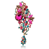1 pcs Vintage Style Tear Drop Flower leaf Brooch Broach Pin Women Jewelry pink red Crystals Rhinestone Brooches