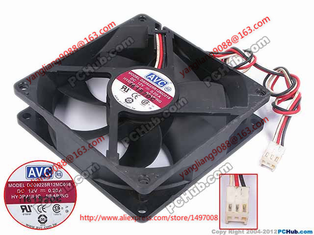 AVC DS09225R12MC018 DC 12V 0.2A 140mm 92x92x25mm Server Square fan