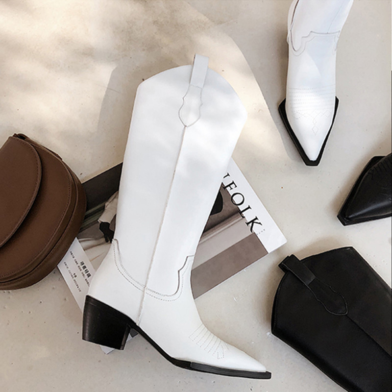 1d796f7a17d US $69.0 25% OFF|White leather cowboy boots Slim Fit Square Toe Knee Length  Kitten Heel Women Winter Long Boots Fashion Shoes Women-in Ankle Boots ...