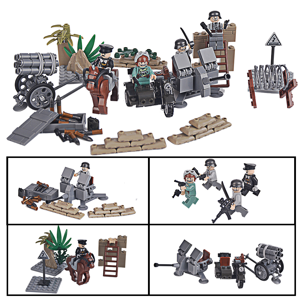 SuSenGo Military World War II Germans Soldier Super Weapon Offensive Model set Building Blocks Toys Compatible with Lepin xinlexin 317p 4in1 military boys blocks soldier war weapon cannon dog bricks building blocks sets swat classic toys for children