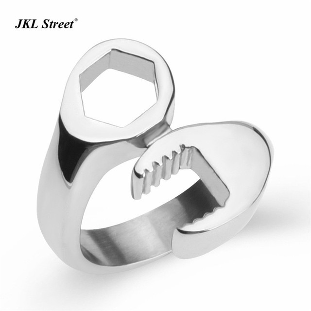 Stainless Steel Spanner Mechanic Wrench Tool Polished Men Biker Ring