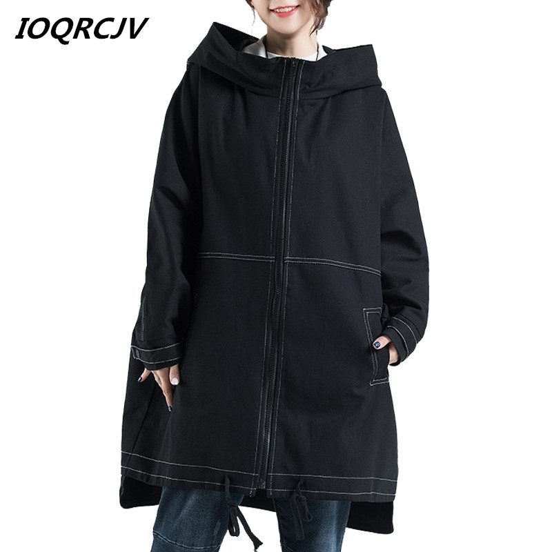 New Women Trench Coats 2019 Autumn Loose Hooded Outwear Cardigan Large Size Female Overcoat Pockets Solid