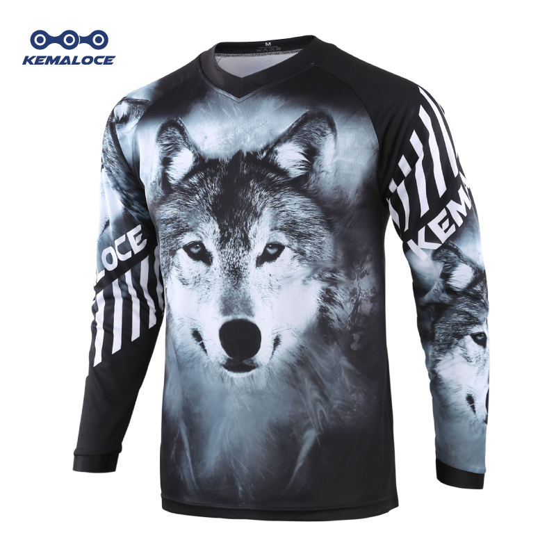 Moto Race Mountain Bike Motocross Jersey Black Wolf BMX DH Shirt Clothes Long Sleeve Breathable Quick Dry Downhill MTB Jersey