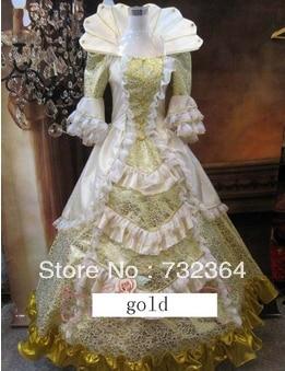 Free Ship Fan Collar Luxury Medieval Renaissance Gown