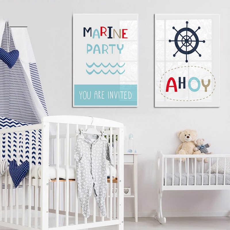 Bintang Laut Kartun Kanvas Poster Ocean Paradise Nursery Cetak Biru Dinding Seni Lukisan Nordic Anak-anak Gambar Bayi Dekorasi Kamar Tidur