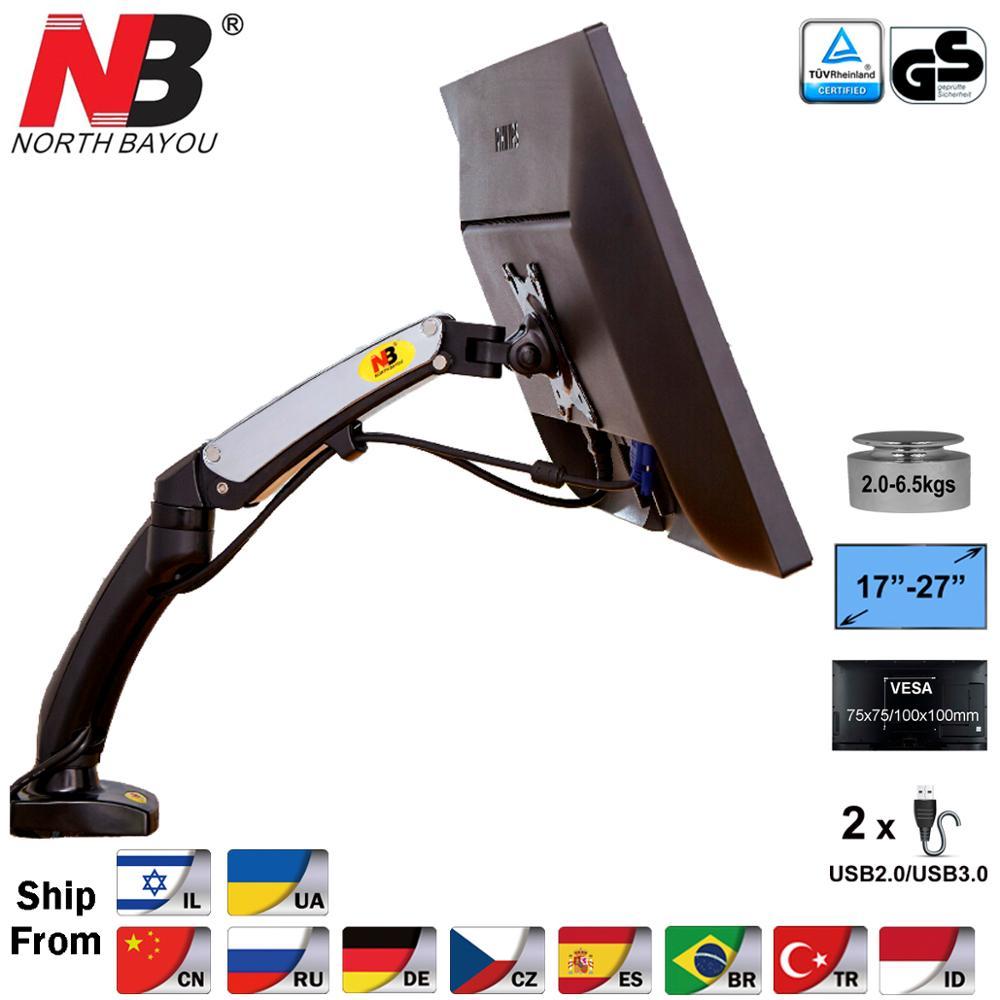NB F100 Aluminum 17-27inch LED LCD Monitor Holder Arm Ergonomic Gas Strut Desktop Mount Bracket With 2 USB Port Load 2~6.5kgs