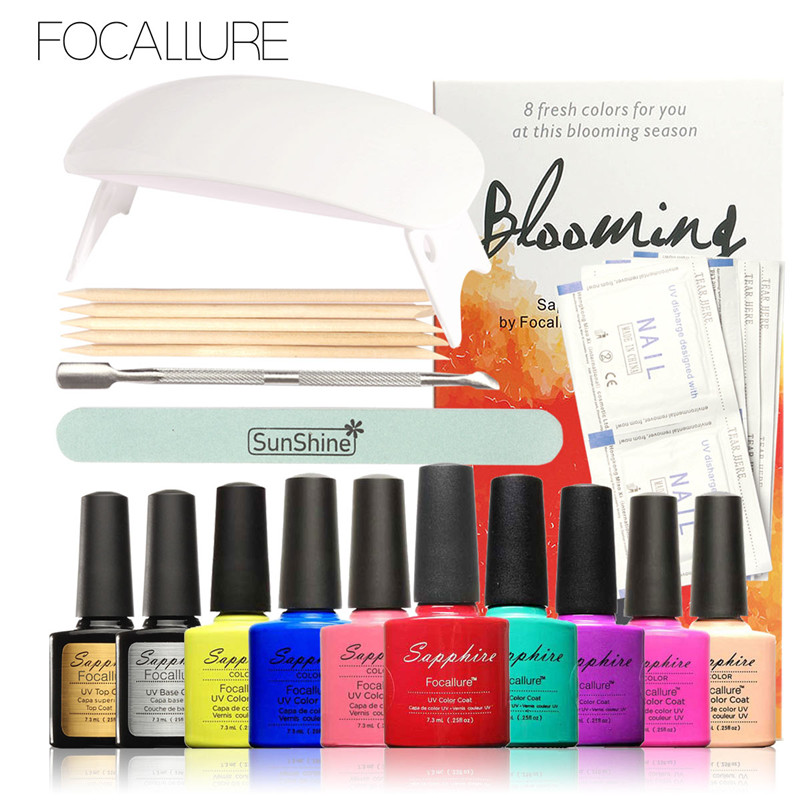 FOCALLURE Pro Soak-off Nail Gel Polish Starter Kit 8 Colors Soak Off Gel Top Base Coat Cleanser Nail Art Sunmini Led Lamp