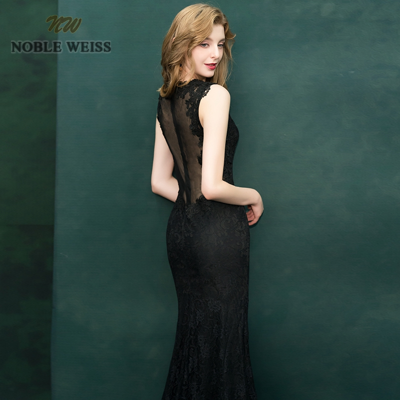 NOBLE WEISS Mermaid Evening Dresses Appliques Lace Prom Gown Illusion Robe de Soiree 2019 Black Formal Special Occasion Gowns