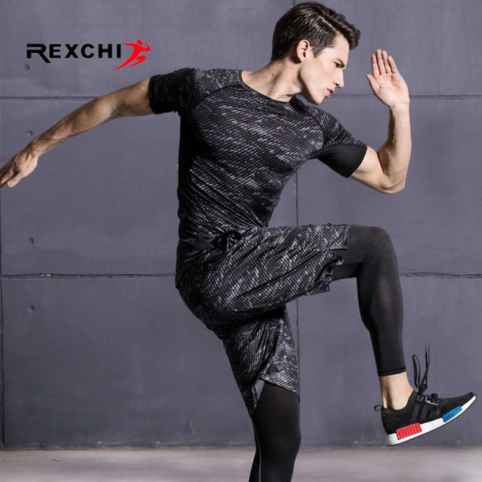 399c13e9f9a 3 Pcs/Set Men Sports Suit Compression Underwear Outdoor Running Jogging  Clothes T Shirt Pants Gym Fitness Workout Tights Costume