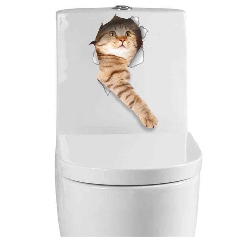 القط حية ثلاثية الأبعاد نظرة حفرة الجدار ملصق الحمام المرحاض زينة الاطفال هدية المطبخ لطيف ديكور المنزل Decal جدارية الحيوان الجدار ملصق