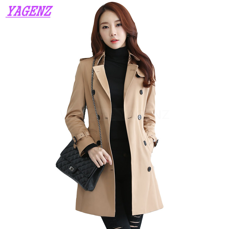Plus size S-3XL Spring Autumn Windbreaker Coat Women Fashion Long Elegant Trench coat Young Women Double breasted Overcoat B302